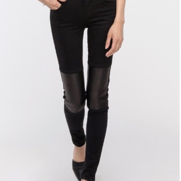J Brand Denim - J brand Nicola Hewson Leather-Panel Skinny Jeans